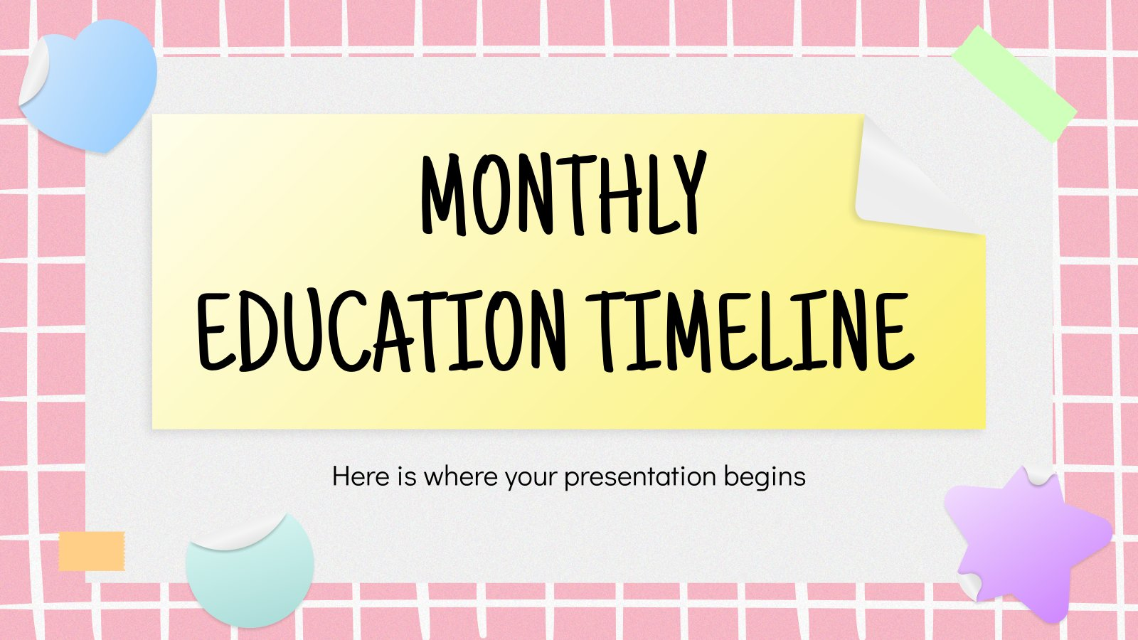 Modelo de apresentação Linhas de tempo mensais para educação