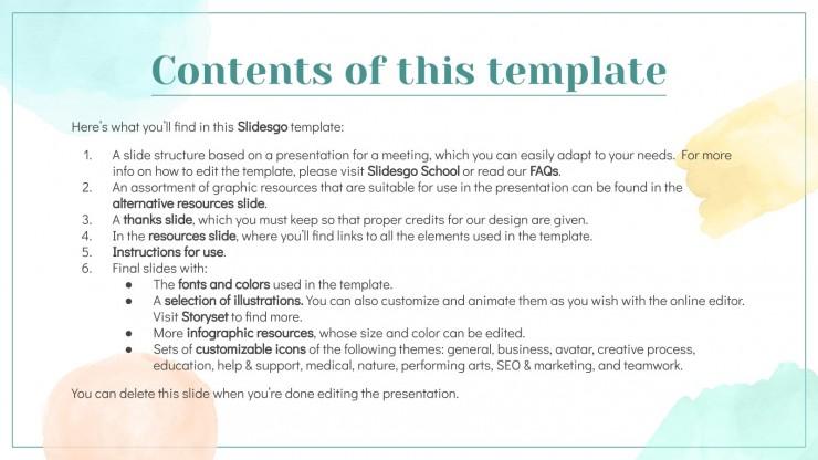 Elegant Watercolor Morning Meeting presentation template