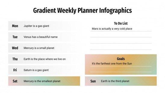Plantilla de presentación Infografías de agenda semanal con degradados
