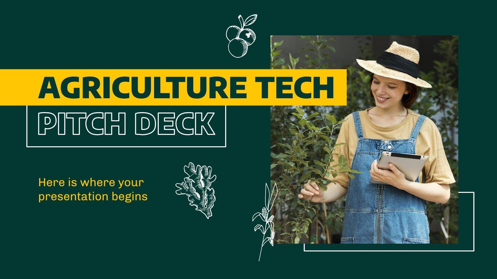 Modelo de apresentação Pitch deck de tecnologia agrícola