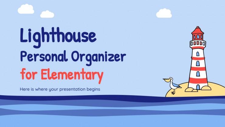 Plantilla de presentación Agenda escolar con dibujos de faros
