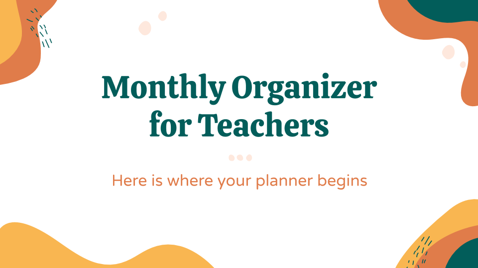 Plantilla de presentación Planificador mensual para profesores