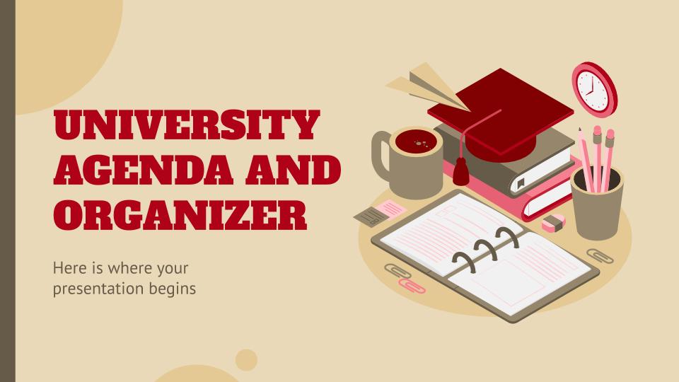 Agenda und Organizer für die Universität Präsentationsvorlage