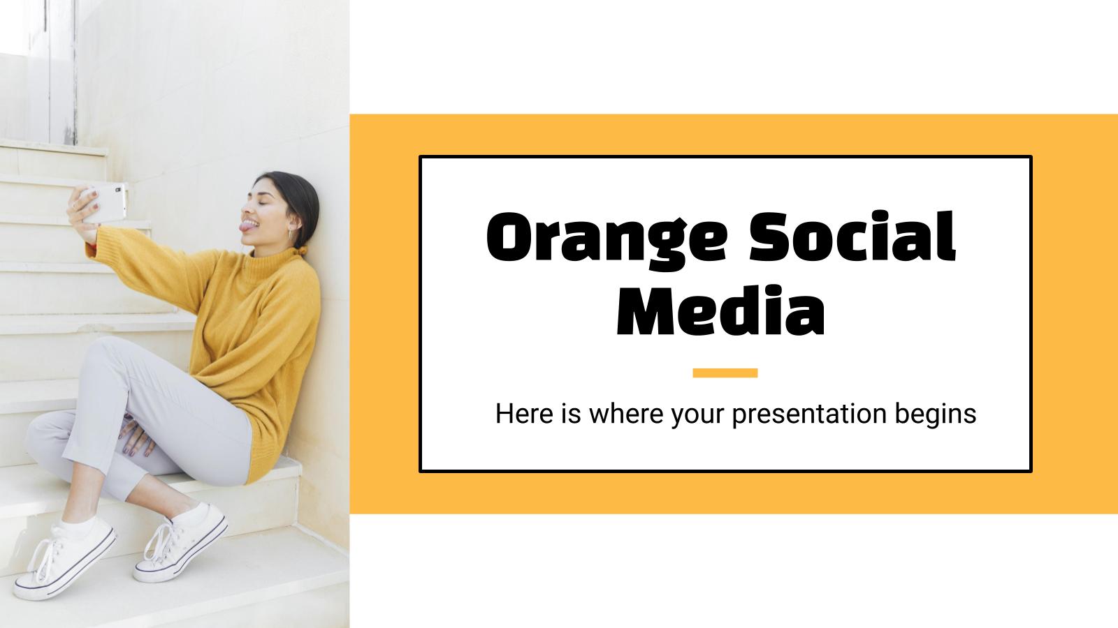 Modelo de apresentação Estratégia de mídia social laranja