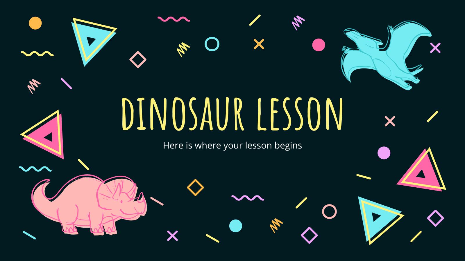 Modelo de apresentação Pré-história: Lição sobre dinossauros
