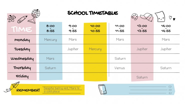 Modelo de apresentação Agenda de aula kawaii