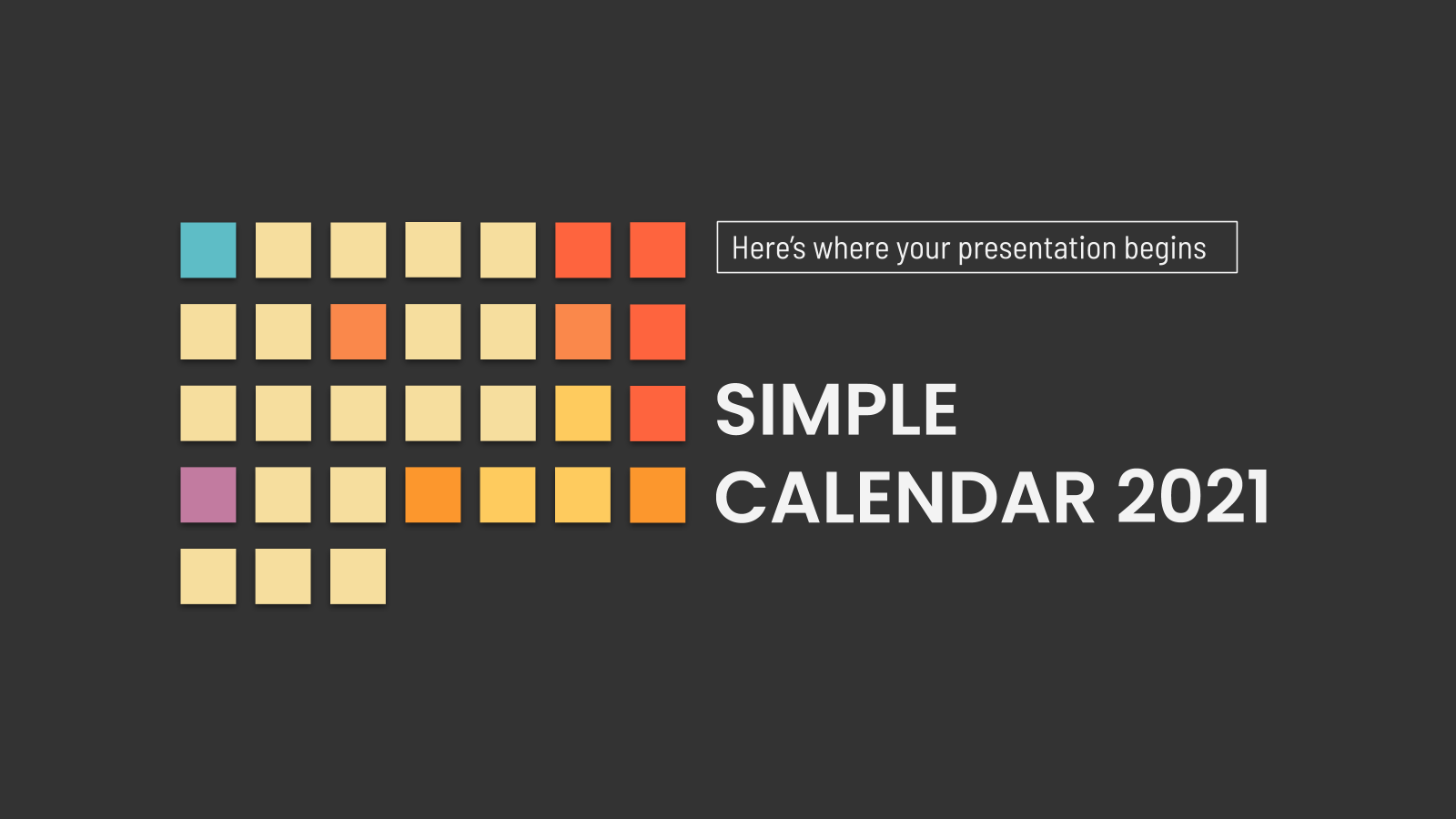 Calendrier 2021 simple : Modèles de présentation