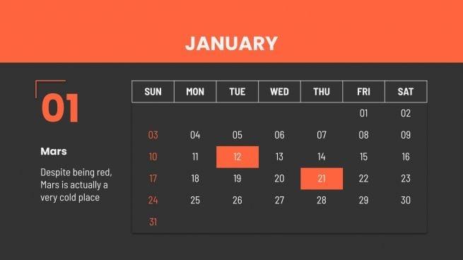 Modelo de apresentação Calendário simples de 2021