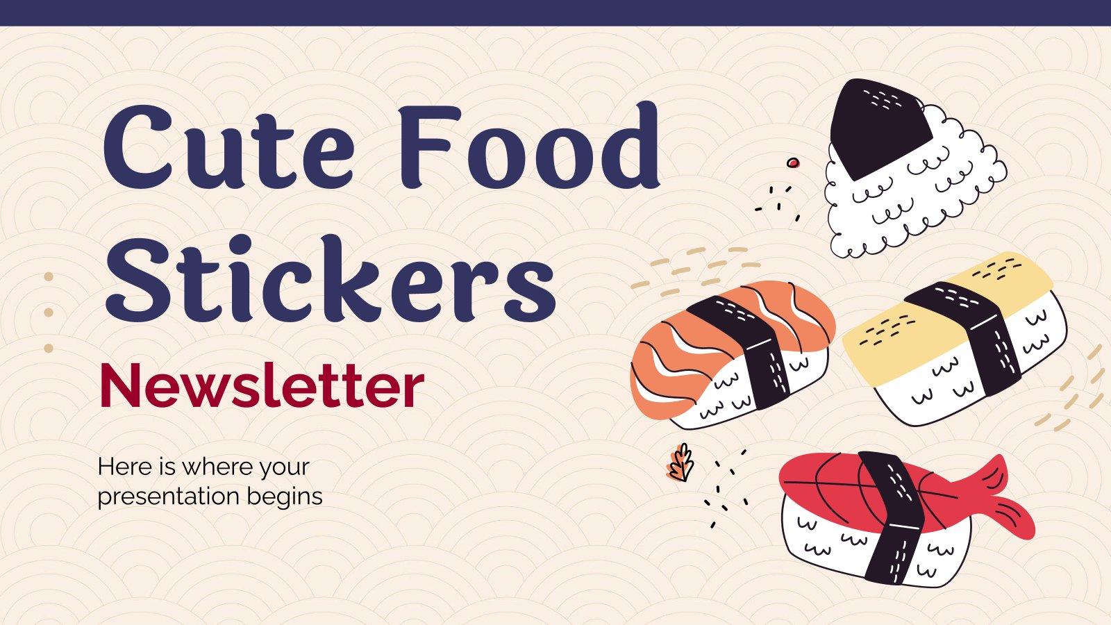 Newsletter avec d'autocollants alimentaires mignons : Modèles de présentation