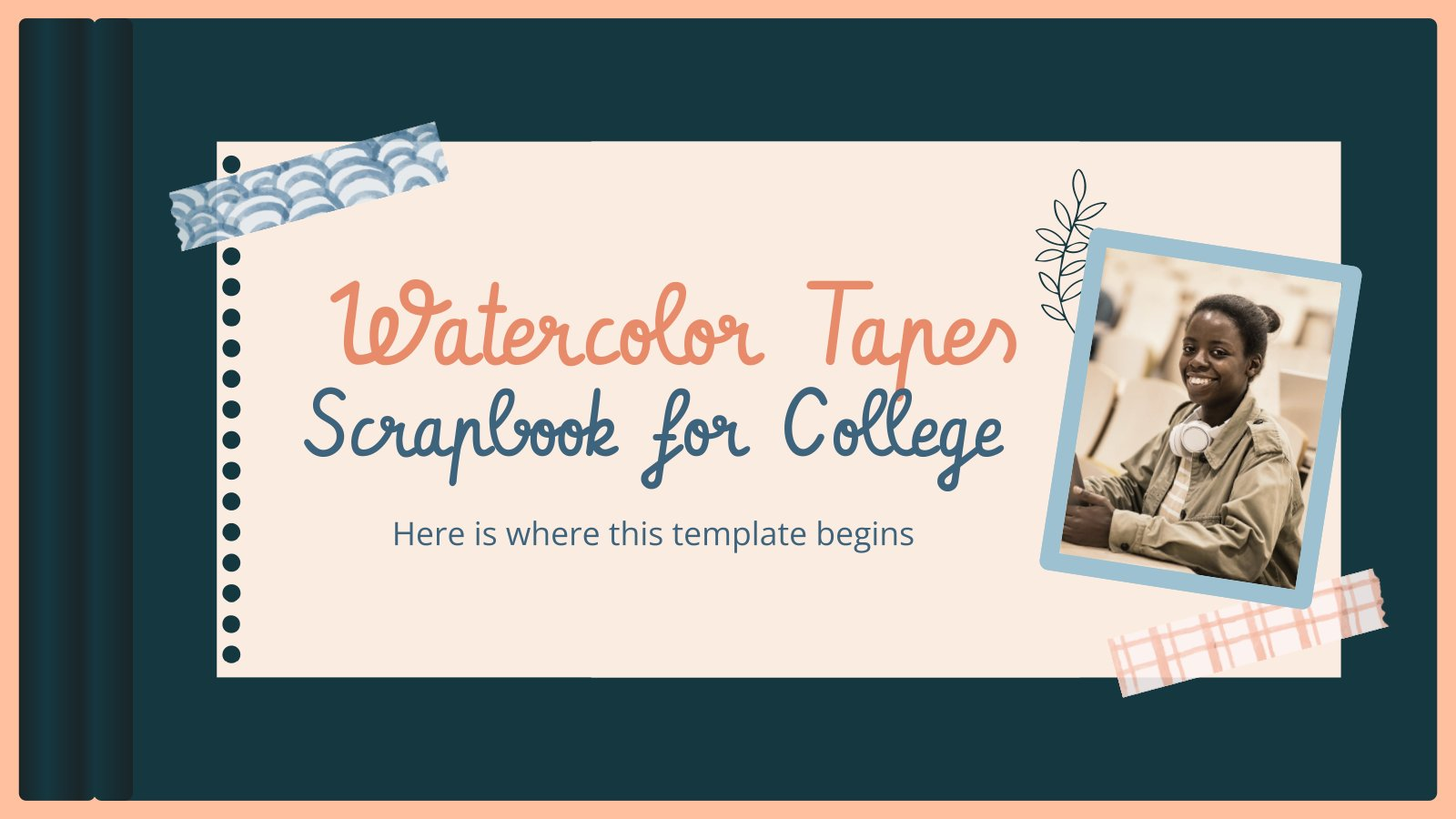 Watercolor Tapes Scrapbook for College Infographics presentation template