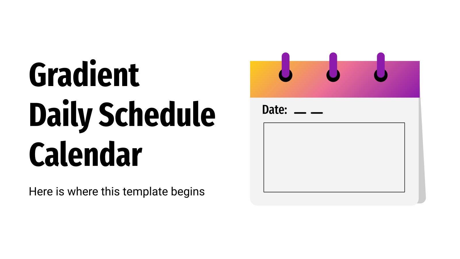 Agenda quotidien avec dégradés : Modèles de présentation
