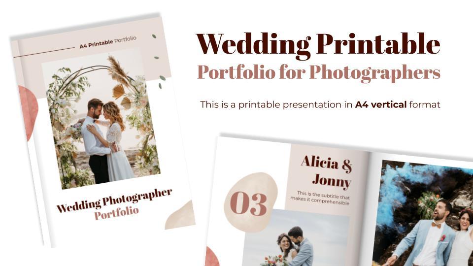 Wedding Printable Portfolio for Photographers presentation template