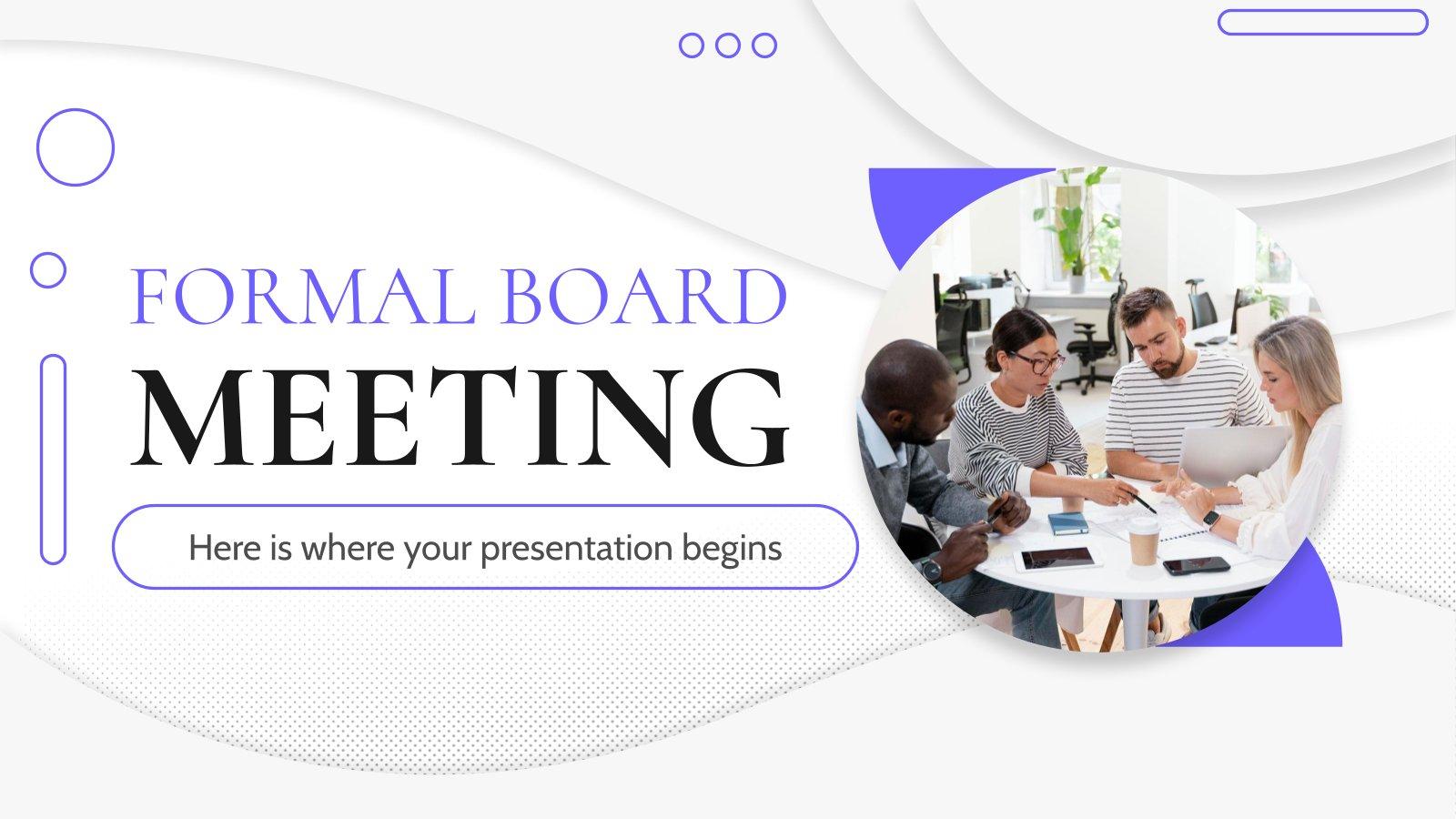 Plantilla de presentación Reunión de la junta formal
