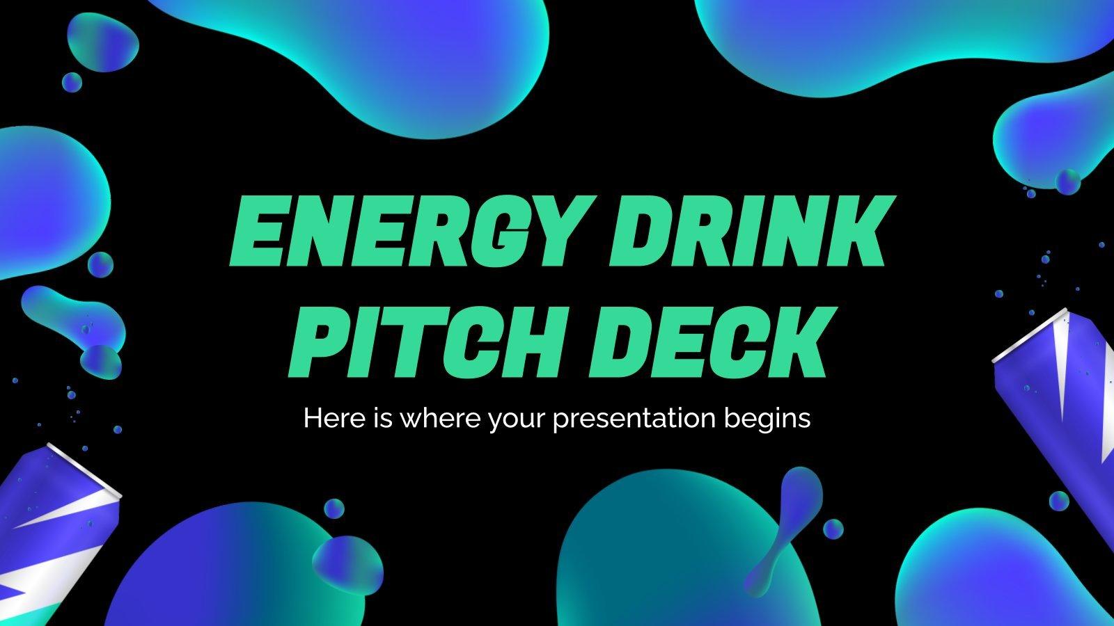 Plantilla de presentación Pitch deck para bebidas energéticas