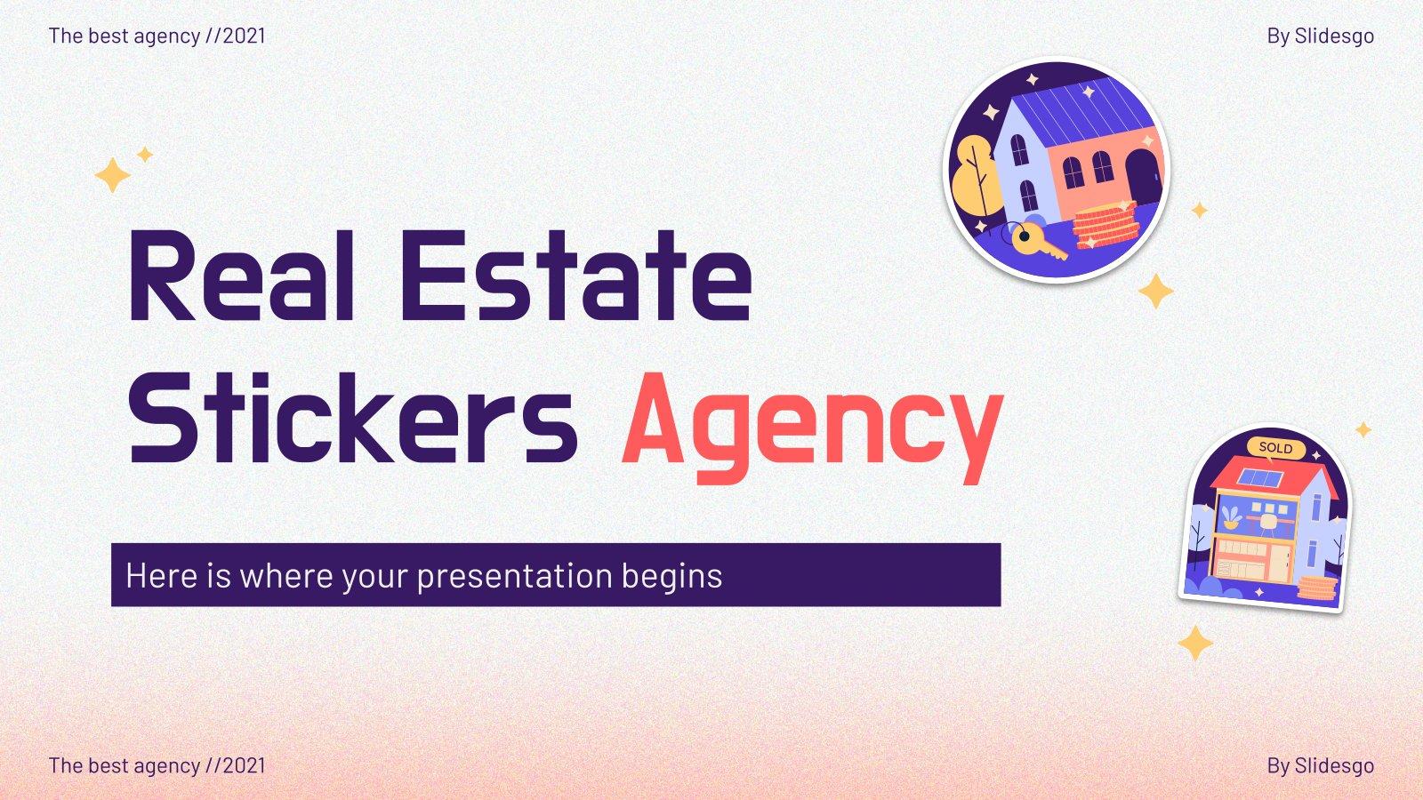 Plantilla de presentación Agencia inmobiliaria con pegatinas