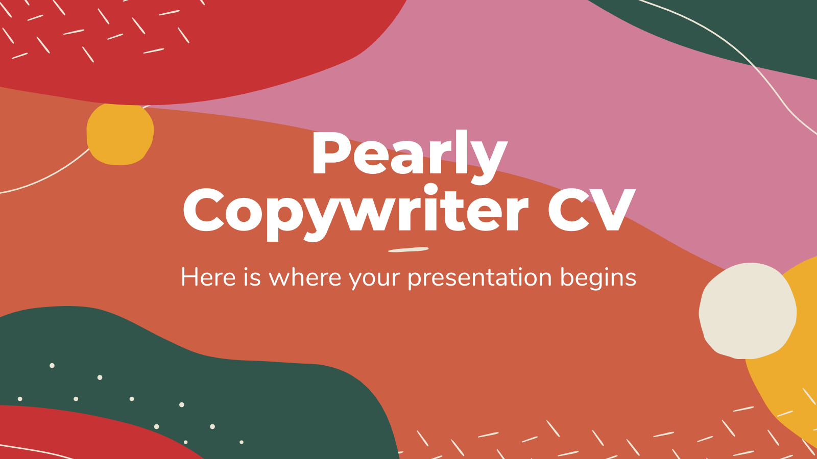 Pearly Copywriter CV presentation template
