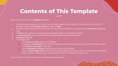 Plantilla de presentación CV de redactor creativo