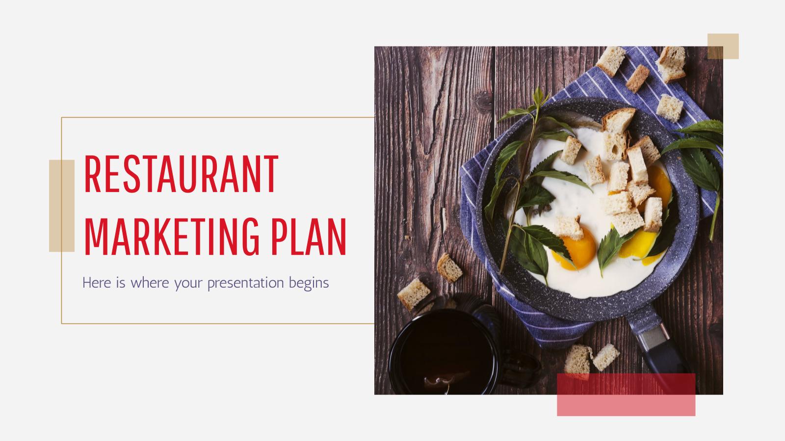 Modelo de apresentação Plano de marketing para restaurante