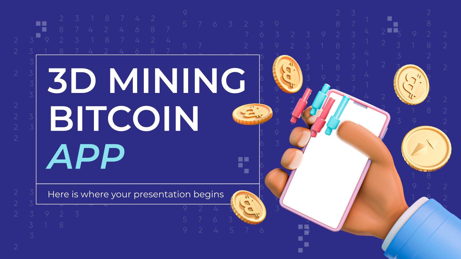 3D Mining Bitcoin App Präsentationsvorlage