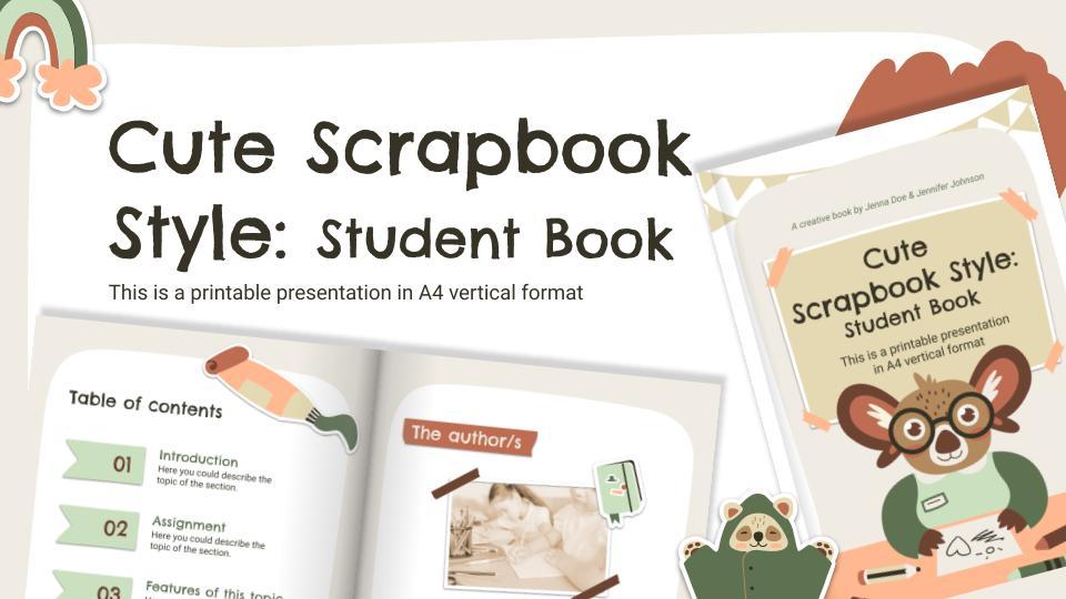 Cute Scrapbook Style: Student Book presentation template