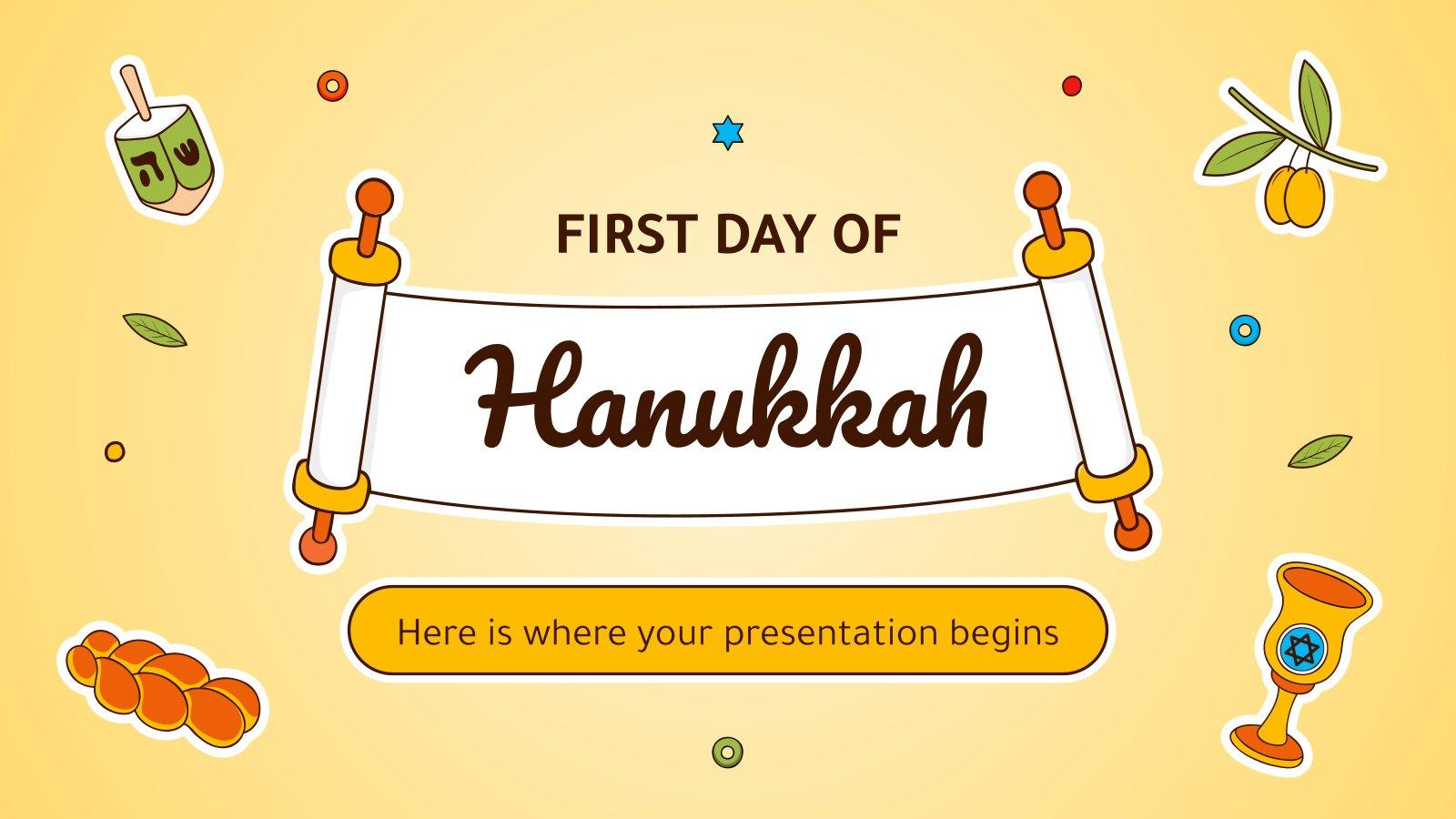 Plantilla de presentación Minitema del primer día de Janucá