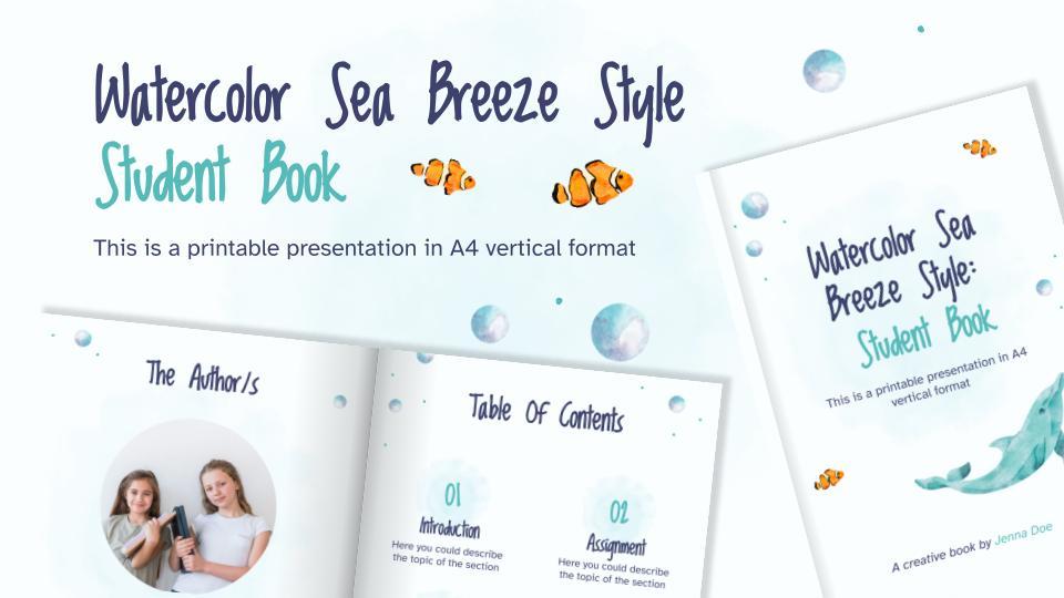 Watercolor Sea Breeze Style: Student Book presentation template