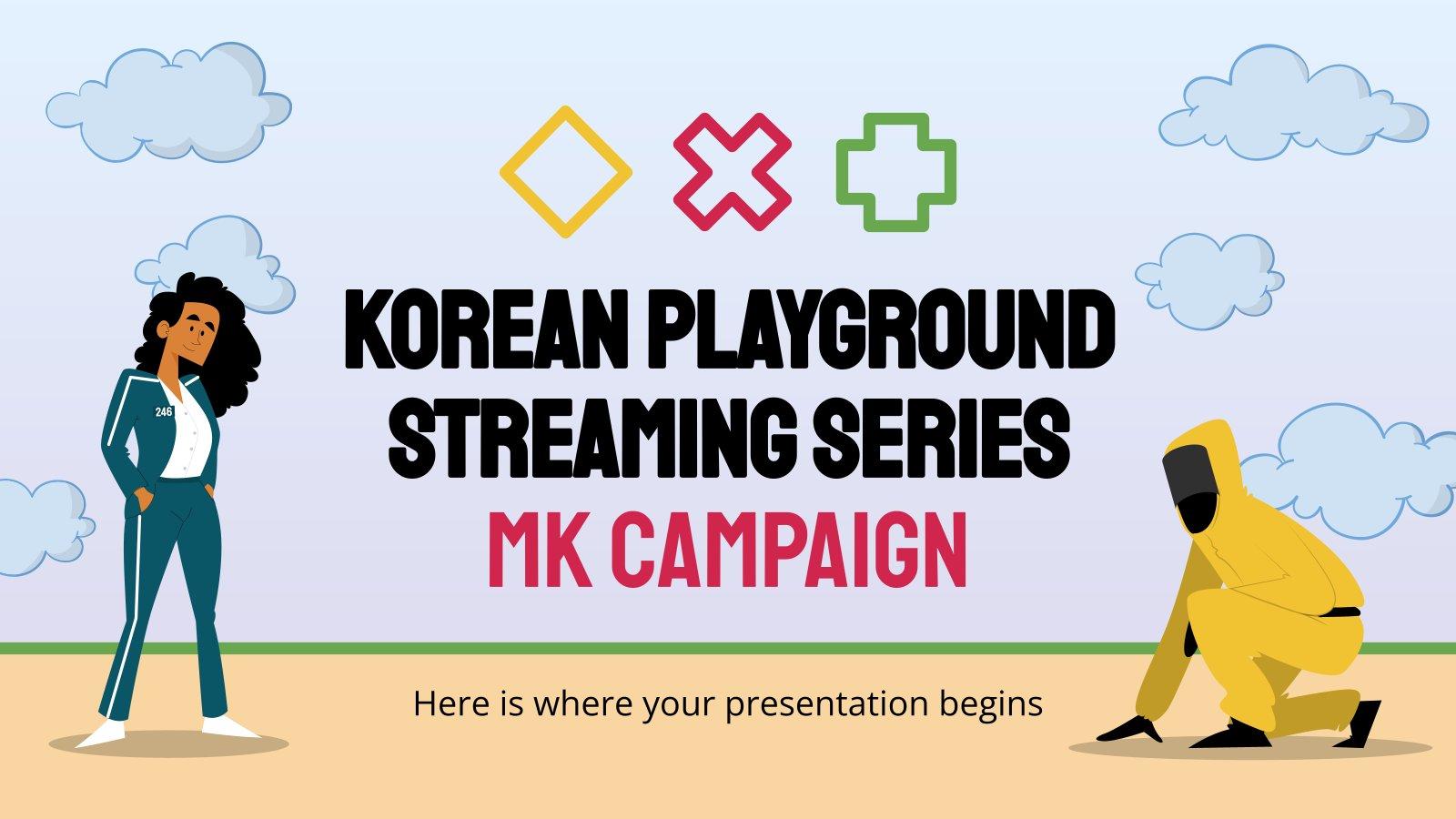 Modelo de apresentação Campanha de marketing sobre a série de jogos coreanos