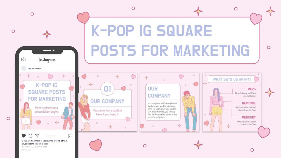K-Pop IG-Posts für Marketing Präsentationsvorlage