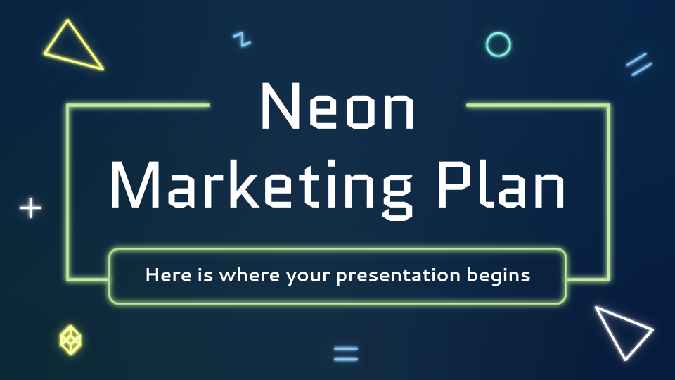 Neonfarbener Marketingplan Präsentationsvorlage