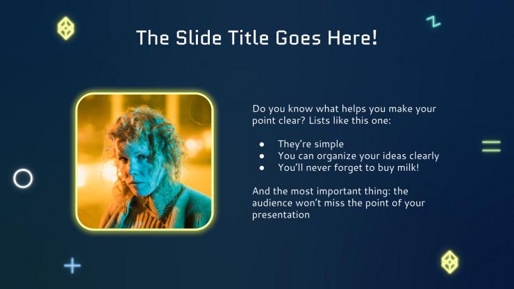 Plantilla de presentación Plan de marketing efecto neón