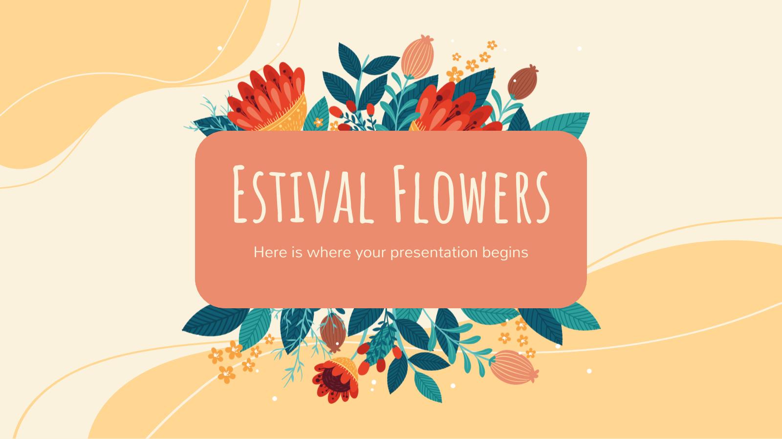 Modelo de apresentação Flores de verão
