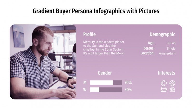 Gradient Buyer Persona Infographics with Pictures presentation template