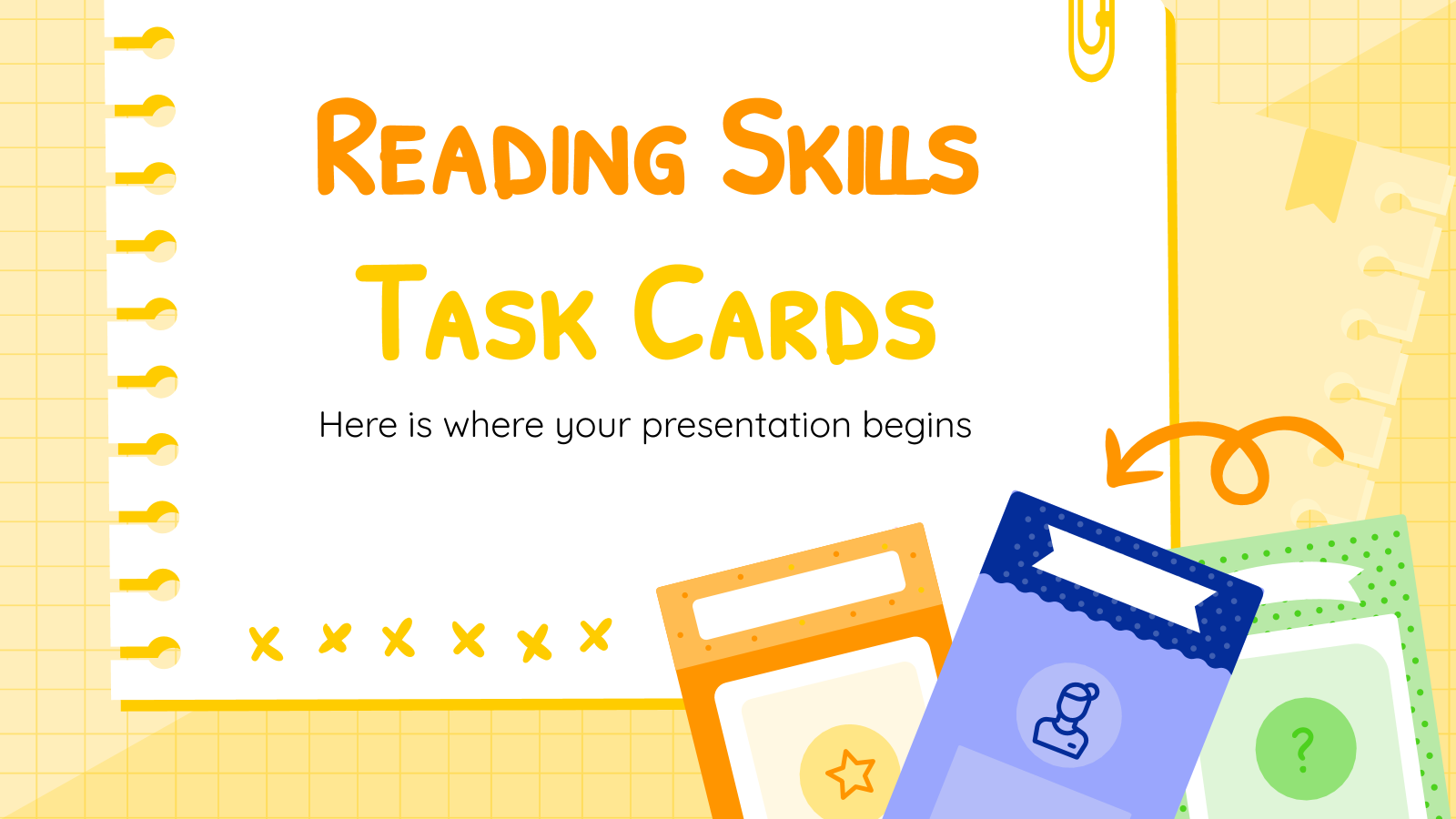 Plantilla de presentación Tarjetas con actividades de lectura