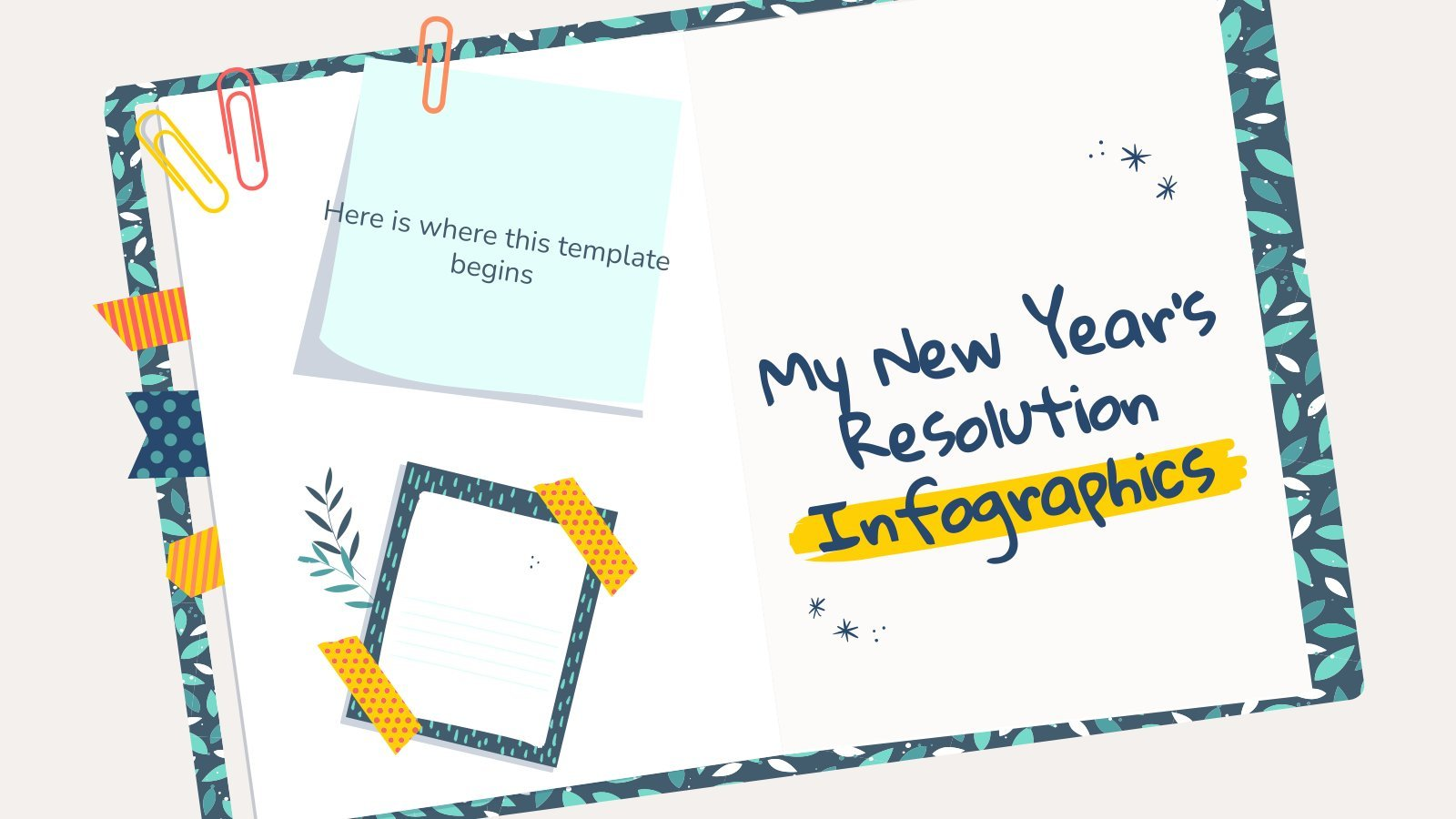 Plantilla de presentación Infografías de propósito de Año Nuevo