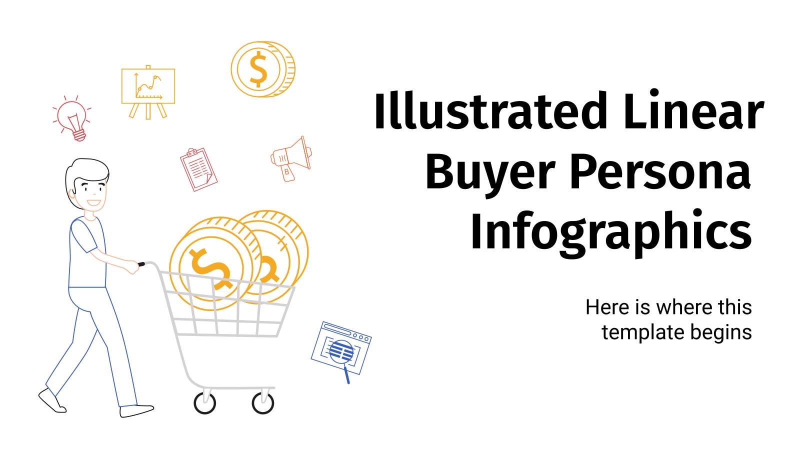 Modelo de apresentação Infográficos de perfil do comprador com ilustrações lineares
