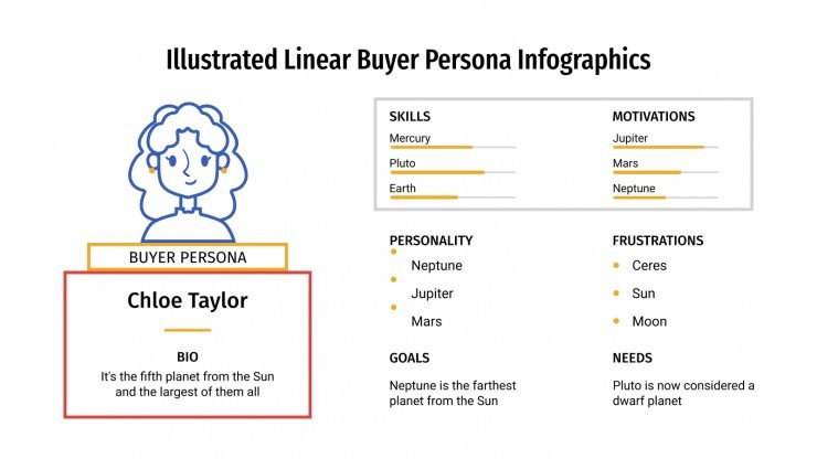 Illustrated Linear Buyer Persona Infographics presentation template