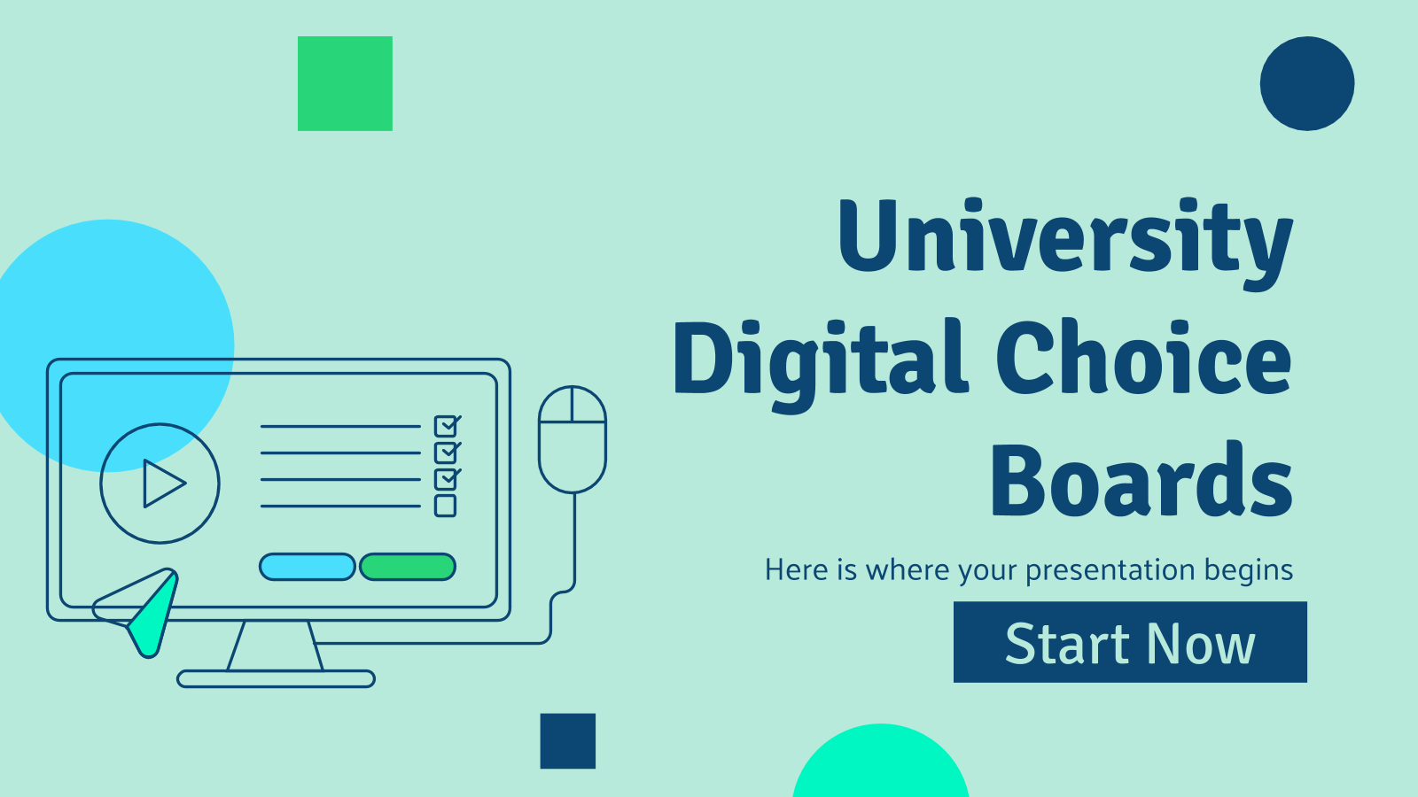 University Digital Choice Boards presentation template