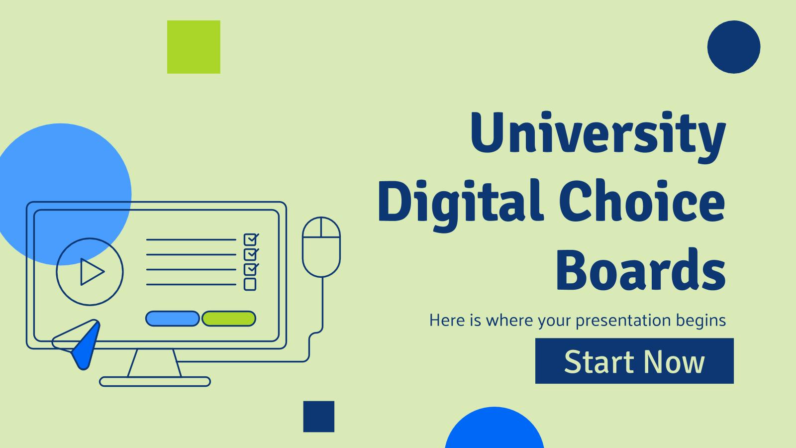 University Digital Choice Boards presentation template