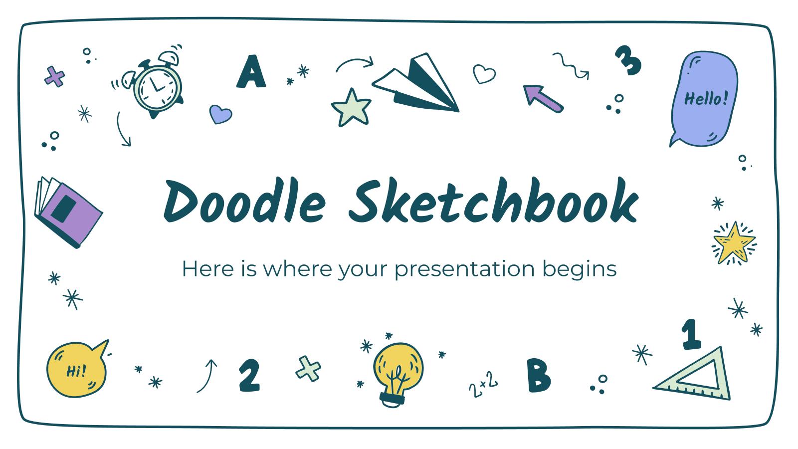 Plantilla de presentación Cuaderno con doodles