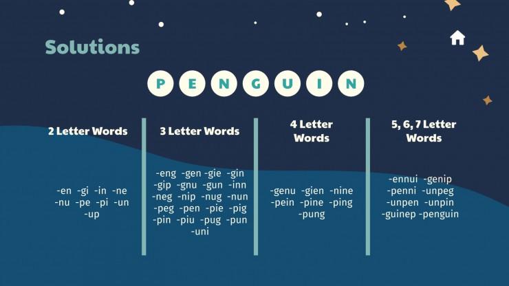 Plantilla de presentación Juegos con palabras para invierno