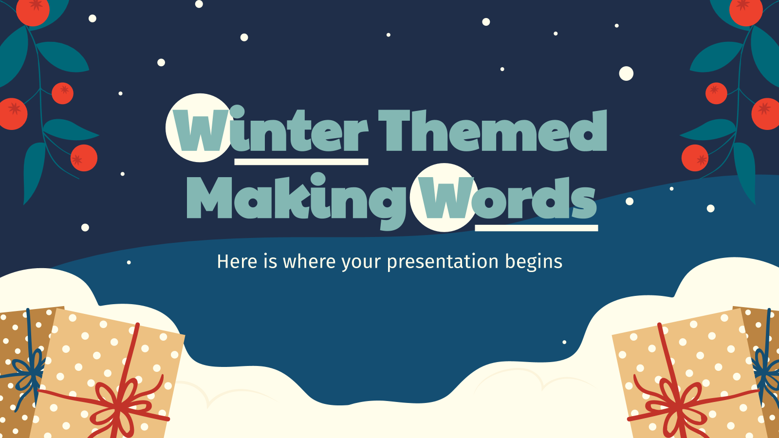 Winter Themed Making Words presentation template
