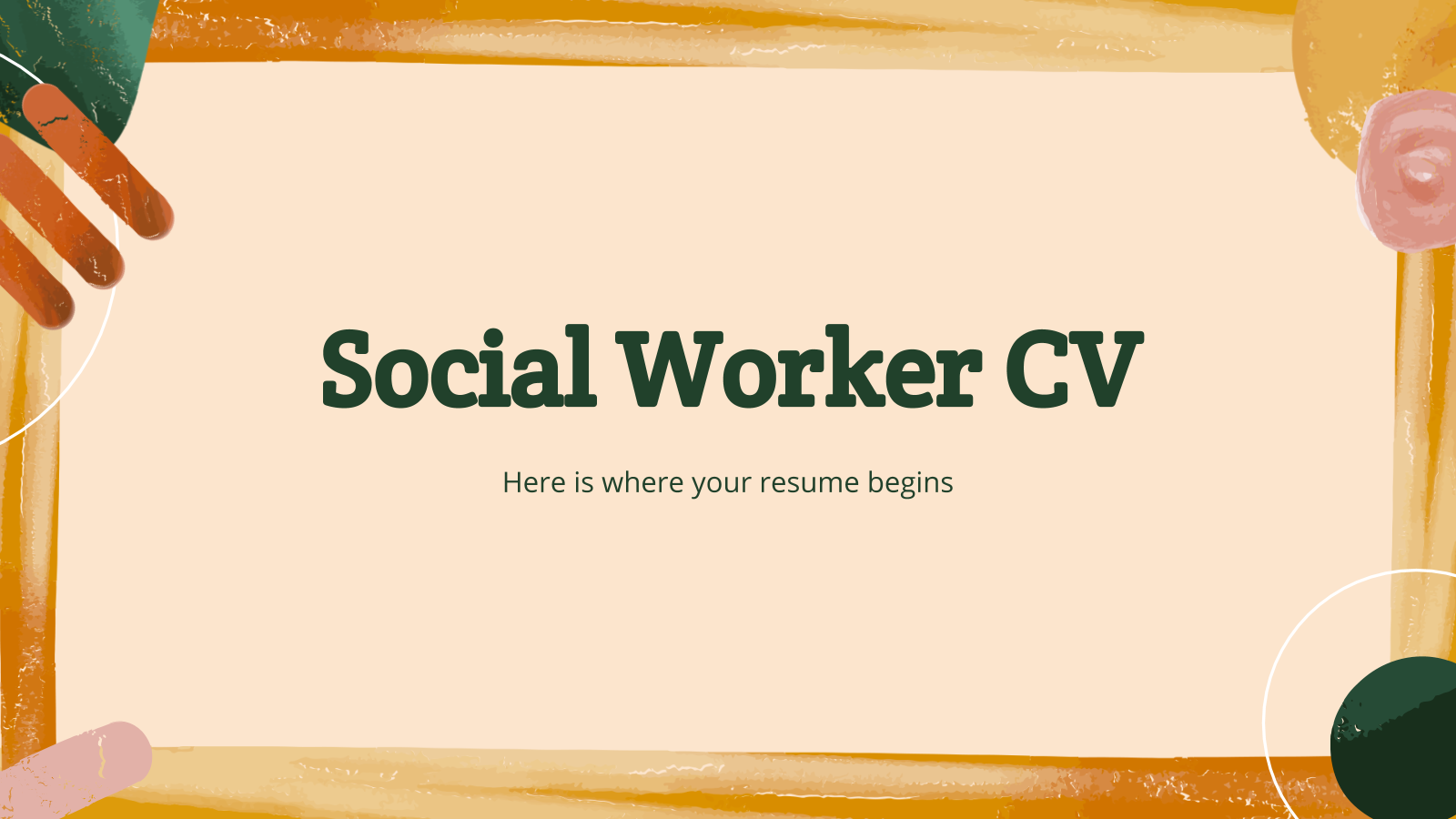 Social Worker CV presentation template
