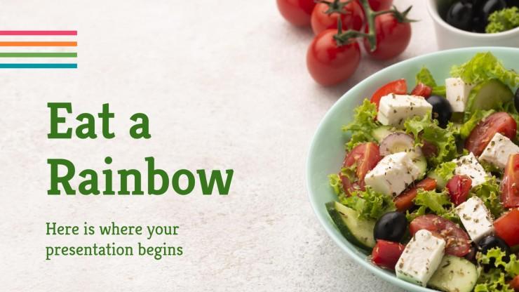 Modelo de apresentação Coma um arco-íris
