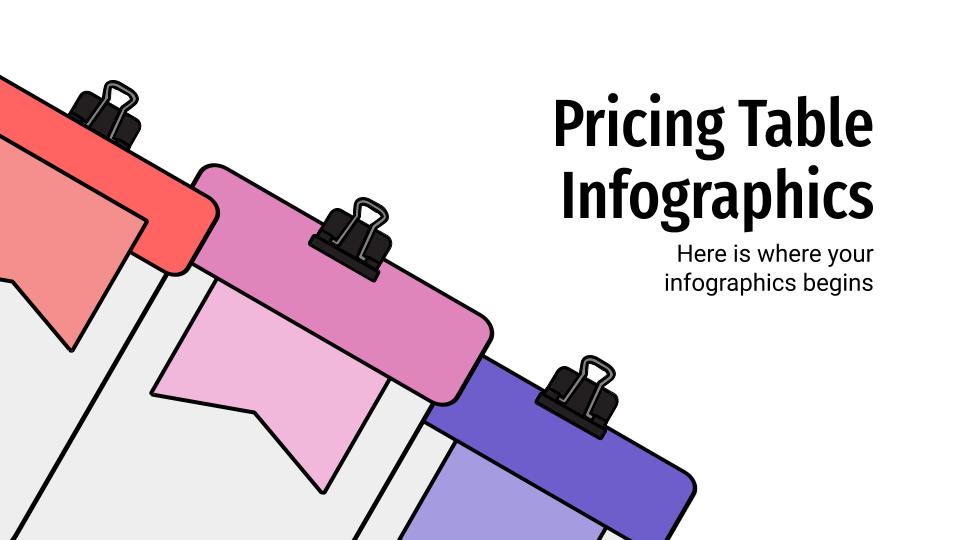 Modelo de apresentação Infográficos com tabelas de preços