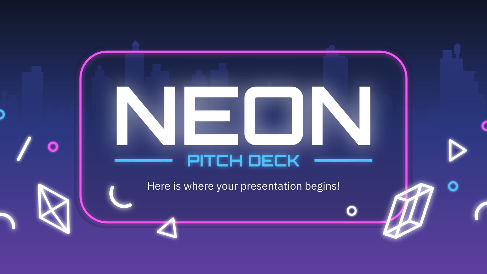 Neon Pitch Deck presentation template