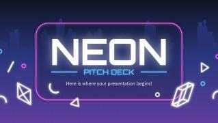 Plantilla de presentación Pitch deck neón
