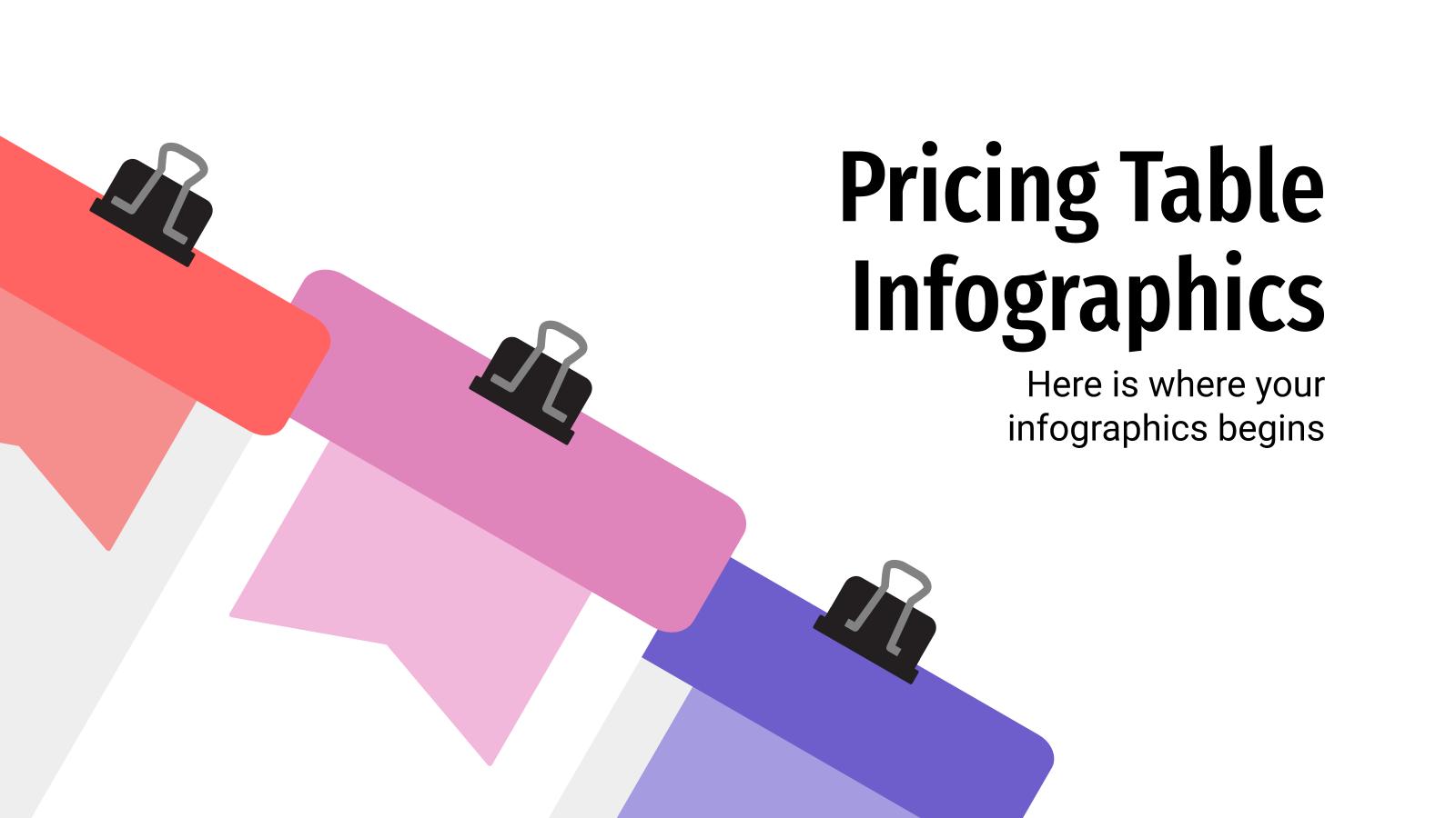 Plantilla de presentación Infografías de tablas de precios