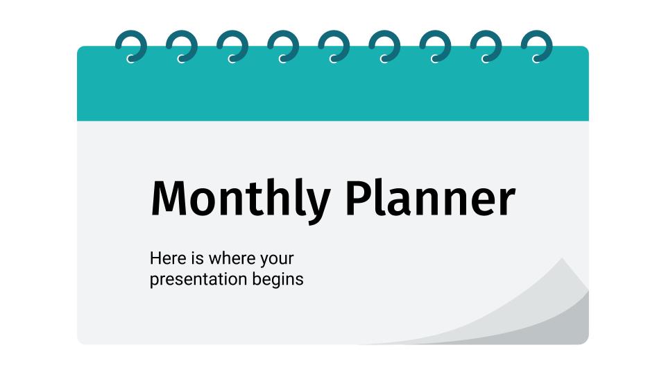 Plantilla de presentación Planificadores mensuales