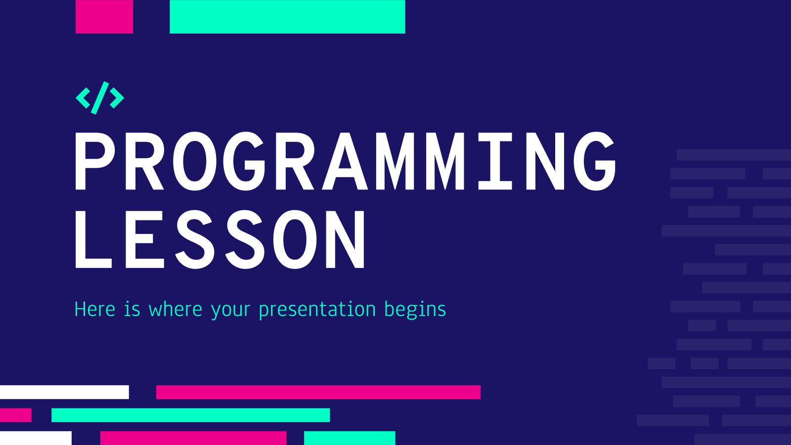 Modelo de apresentação Aula de programação