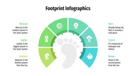 Plantilla de presentación Infografías de huellas